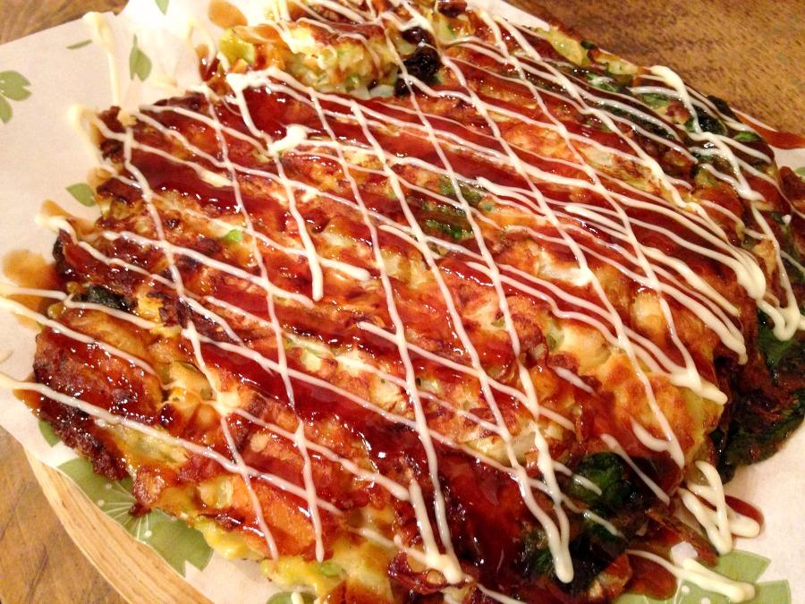 Okonomiyaki spinaci e formaggio
