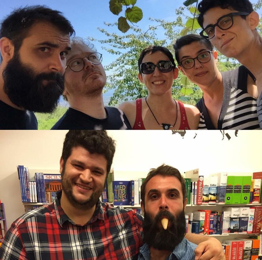 Emiliano, Floriana, Genea, Elisa (Milo, 15 agosto 2016) / Marco, che mi ha chiesto di passare in libreria mentre era di turno la sera (Ragusa Ibla, 19 agosto 2016)