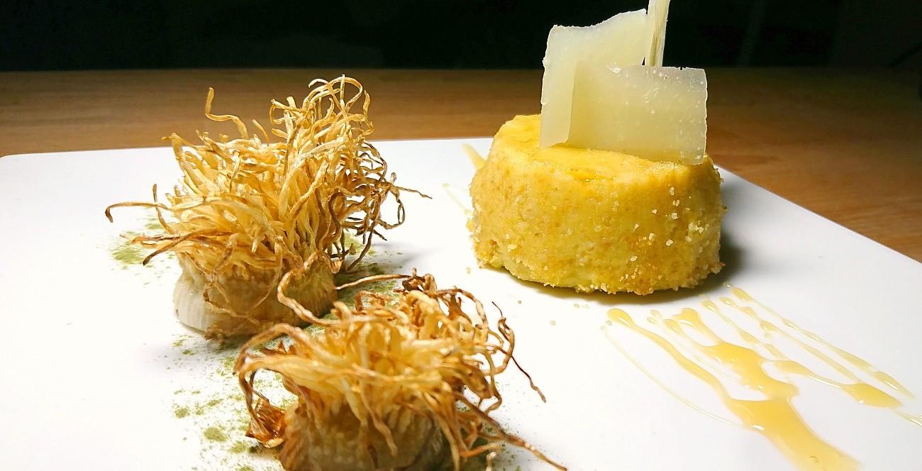Moulinex Flan di topinambur e porro, pecorino sardo, miele di castagno, polvere di spinaci