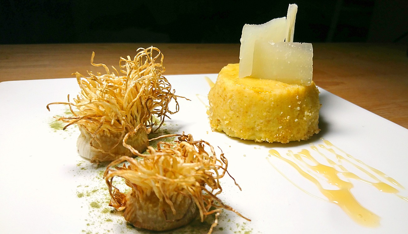 moulinex-flan-topinambur-porro-pecorino-sardo-miele-castagno-polvere-spinaci uomo senza tonno