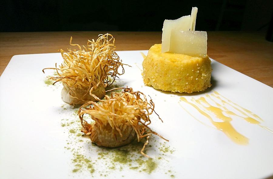 Moulinex Flan topinambur porro, miele, pecorino sardo, polvere spinaci