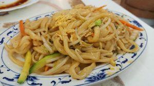 spaghetti di riso con verdure - uomo senza tonno